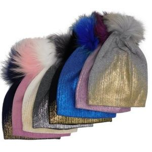 Accessories - Metallic Gradient Cashmere Hats with Pom NWOT